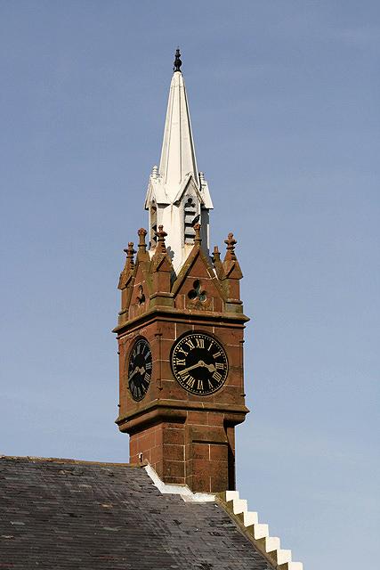 The clock tower on Ballantrae Parish Church
