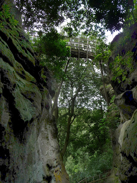 The Swiss Bridge from below, Hawkstone Park