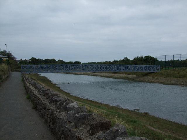 Bridge to school playing fields Conwy