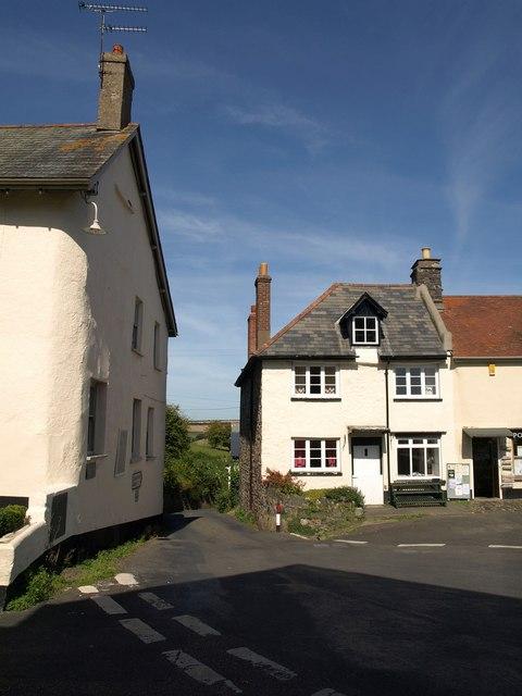 Corner of village square, Drewsteignton