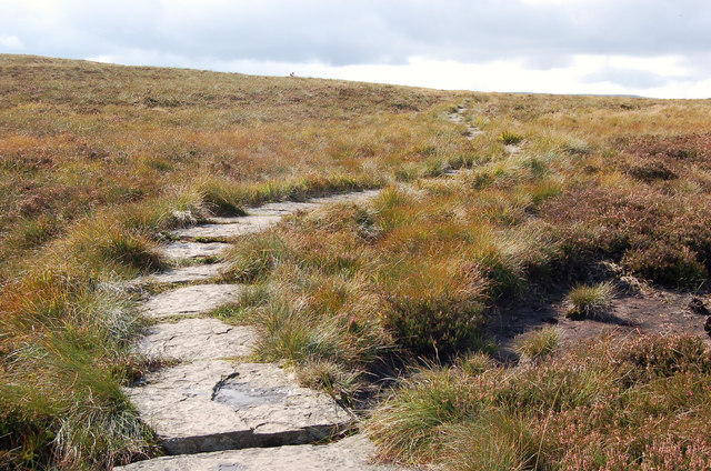 Stone slabs path on the Hay Bluff plateau