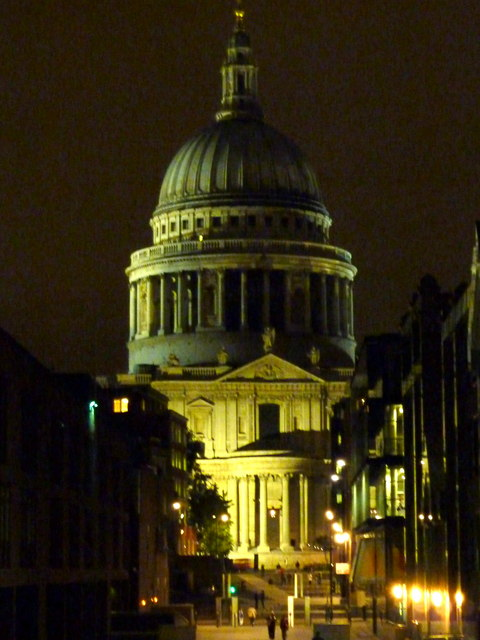 View of St. Paul's Cathedral at night from the north end of the Millennium Bridge