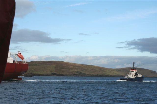 Tanker Delaware on way in to Sullom Voe oil Terminal