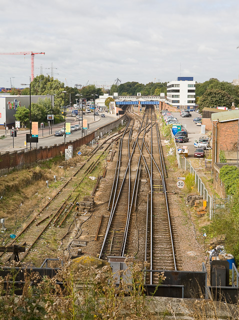Railway lines approaching Southampton station