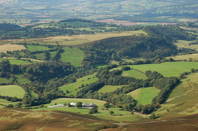 A patchwork of fields in the Wye Valley