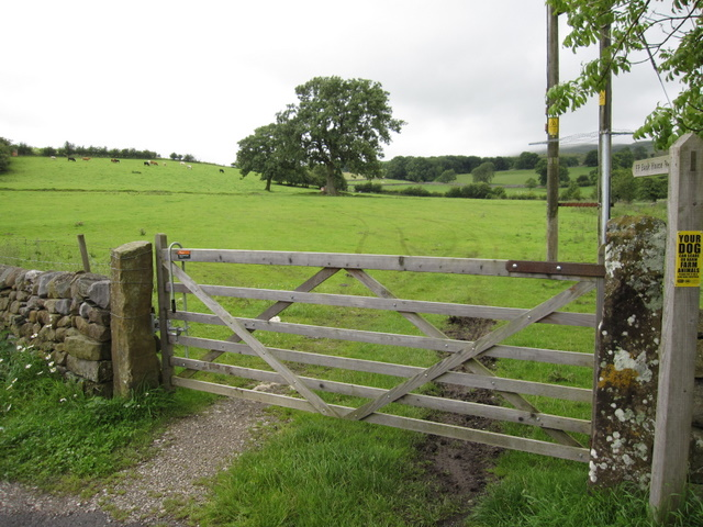 Field gate, and footpath to Bank House