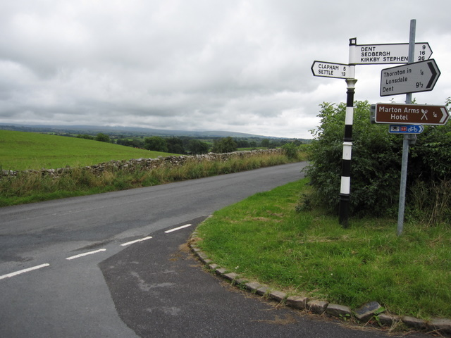A signpost and a view to the Forest of Bowland