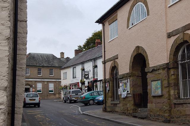Town Hall and the White Horse Inn, Clun