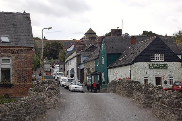 Clun Bridge and church