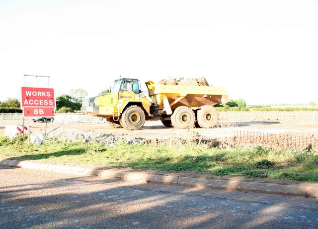 A46 roadworks dumper truck at work