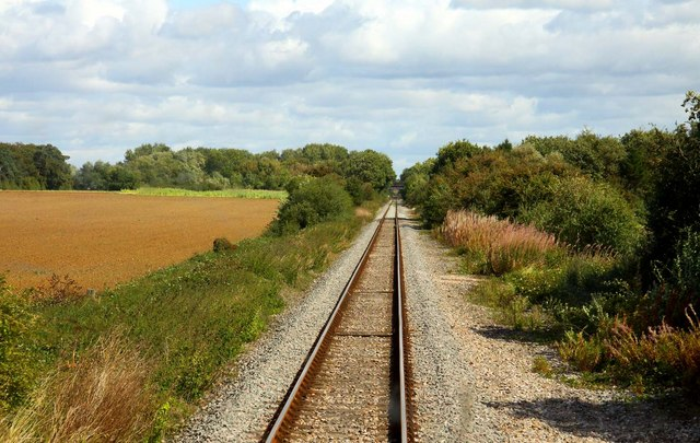 The railway line to Bicester near Northfield Farm
