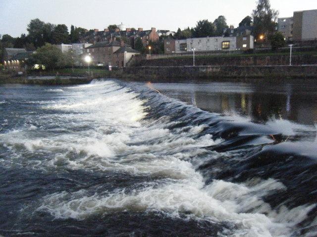 Weir at dusk, Dumfries.