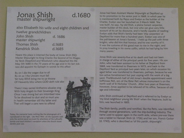 St. Nicholas' Church, Deptford Green, SE8 - plaque re Jonas Shish