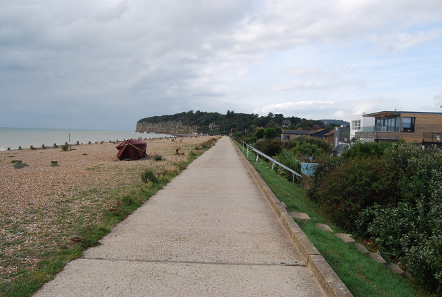 The seafront embankment at Pett Levels