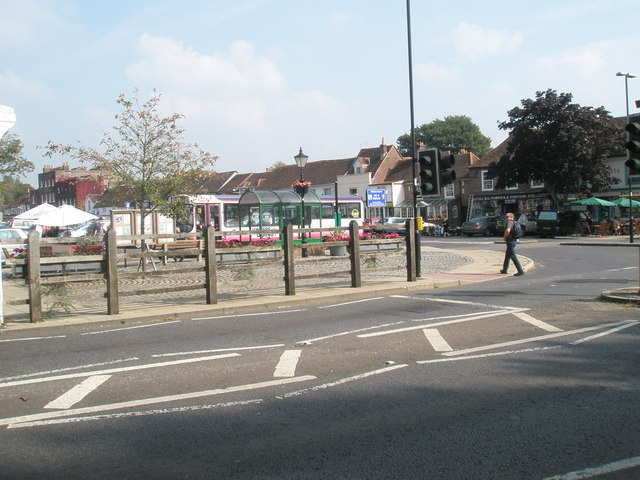 Looking across the A334 into Wickham Square