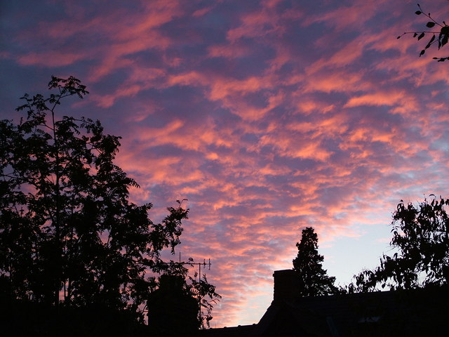 Mackerel sky sunset over Leintwardine.