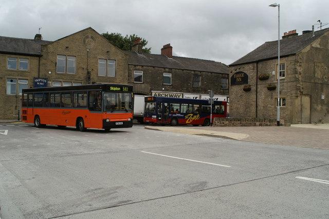 Buses entering Skipton Bus Station