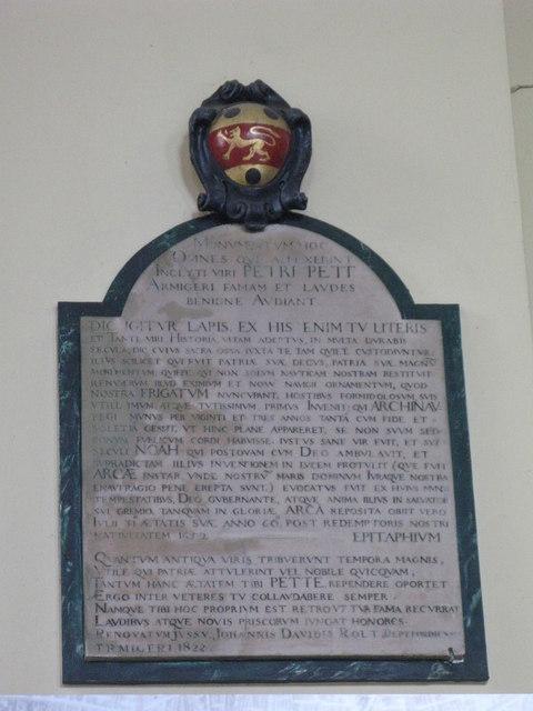 St. Nicholas' Church, Deptford Green, SE8 - memorial to Peter Pett, 1652