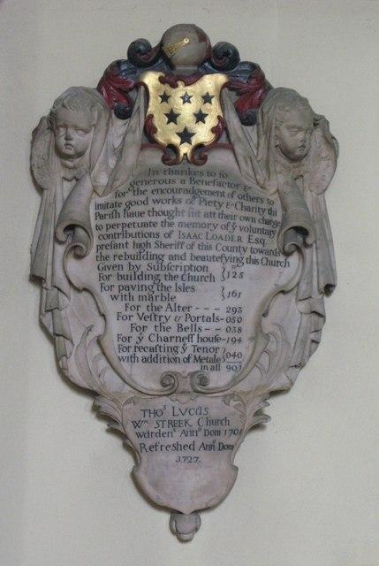 St. Nicholas' Church, Deptford Green, SE8 - memorial plaque, 1701
