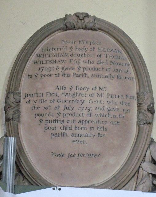 St. Nicholas' Church, Deptford Green, SE8 - memorial plaque, 1709