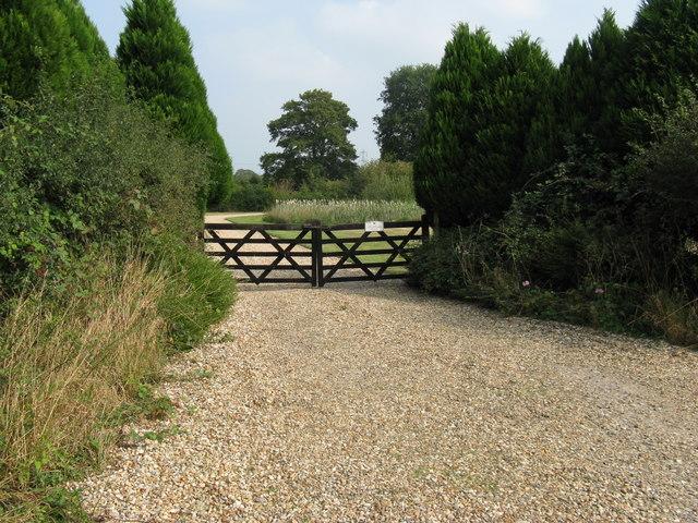 Gated entrance to Lower Barn Farm