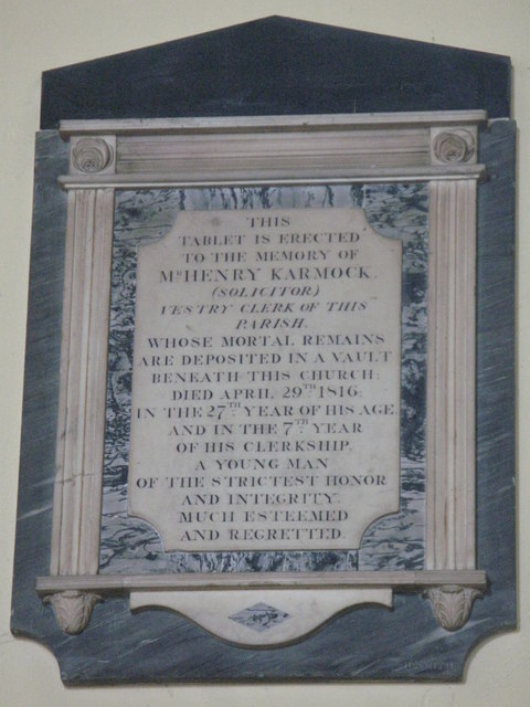 St. Nicholas' Church, Deptford Green, SE8 - memorial plaque, 1816