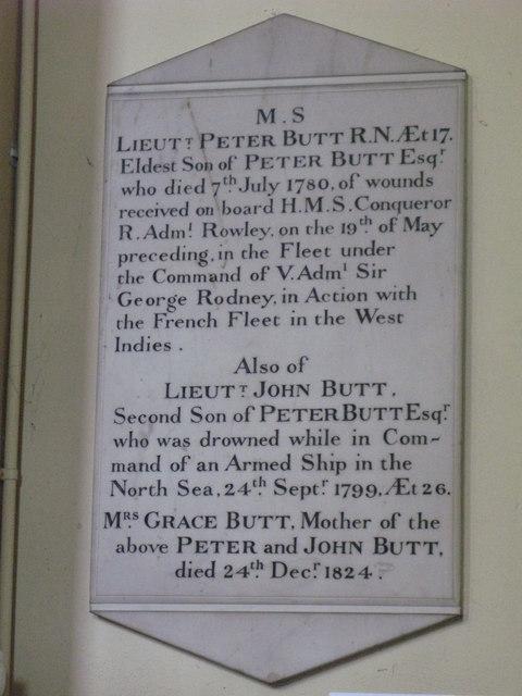 St. Nicholas' Church, Deptford Green, SE8 - memorial plaque, 1780