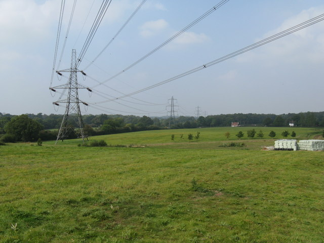 Pylons heading north passing to the east of Cowfold