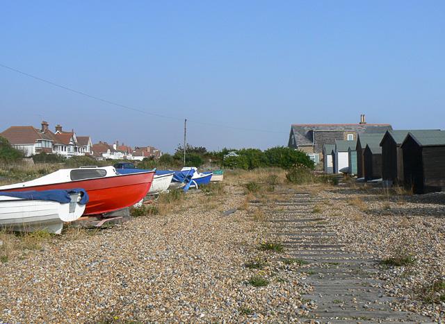 Beach huts and boats, Kingsdown beach