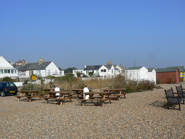 Benches on the shingle outside the Zetland pub, Kingsdown