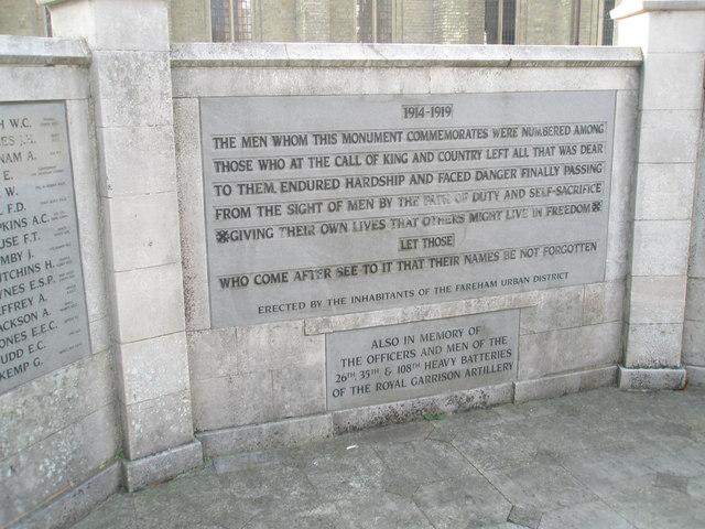 Moving inscription on Fareham War Memorial
