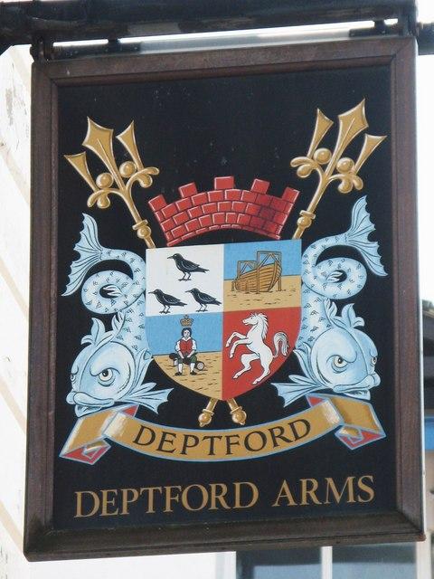 Sign for The Deptford Arms, Deptford High Street / Reginald Road, SE8