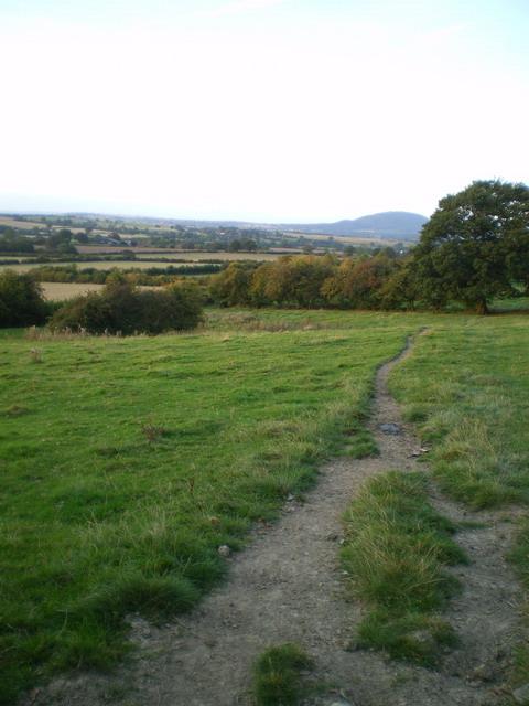Bridleway across a field below Wenlock Edge