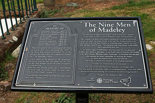 Memorial plaque to 'The Nine Men of Madeley'
