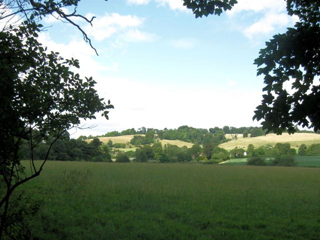 View across the fields towards Little Barley End, near Aldbury