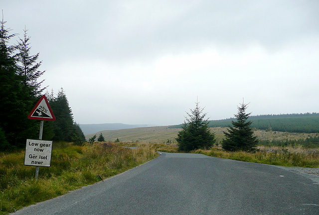 Road across Pen y Cnwc, Powys