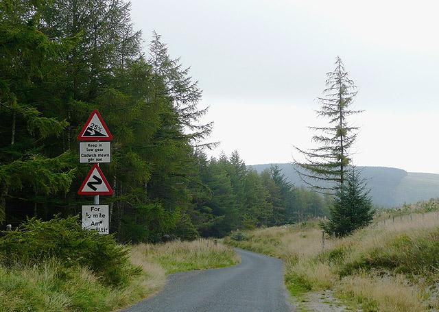 Road approaching Cwm Irfon, Powys