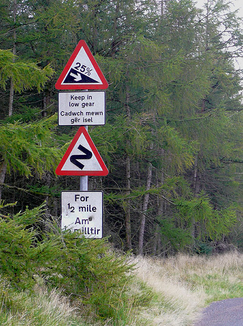 Road sign west of The Devil's Staircase, Powys