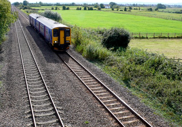 Railway line on Huntspill Levels