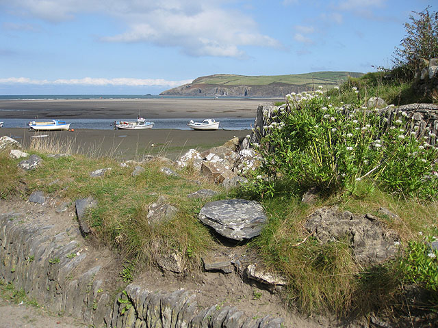 View from the coast path with the tide out