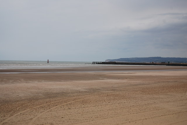 Looking towards the pier arms from Camber Sands