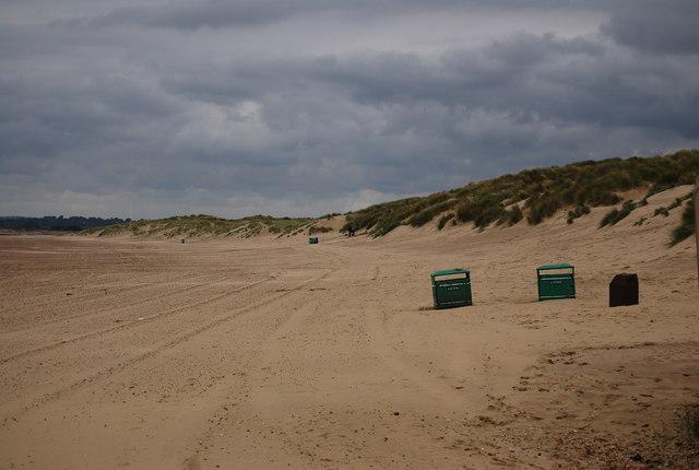 Litter bins on the beach, Camber Sands