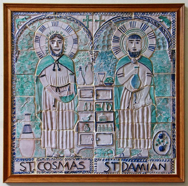 St Cosmas & St Damian, Keymer, Sussex - Tiled plaque