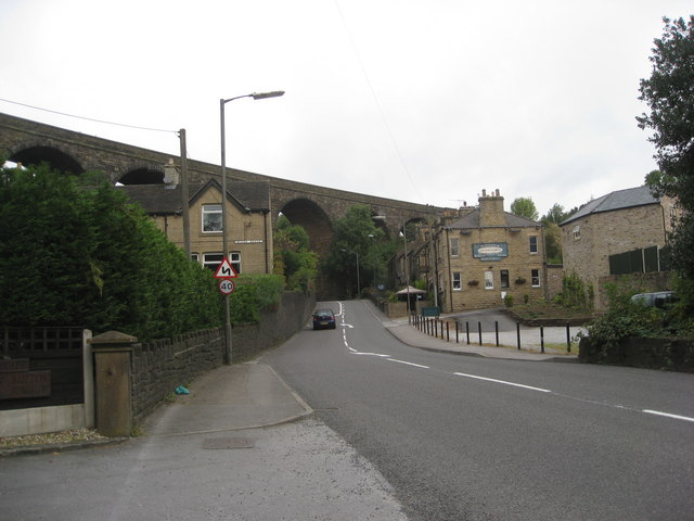 Railway Viaduct and The Cross Keys Inn