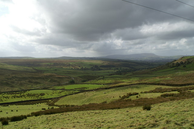 Looking across Smithy Clough to Colne and Pendle Hill