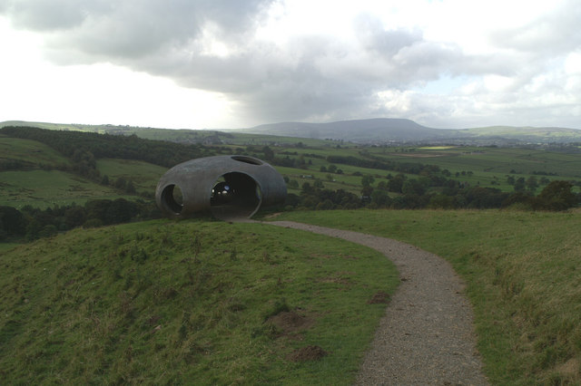 "The Panopticon ""Atom"" at Wycoller, with Pendle Hill in the distance"