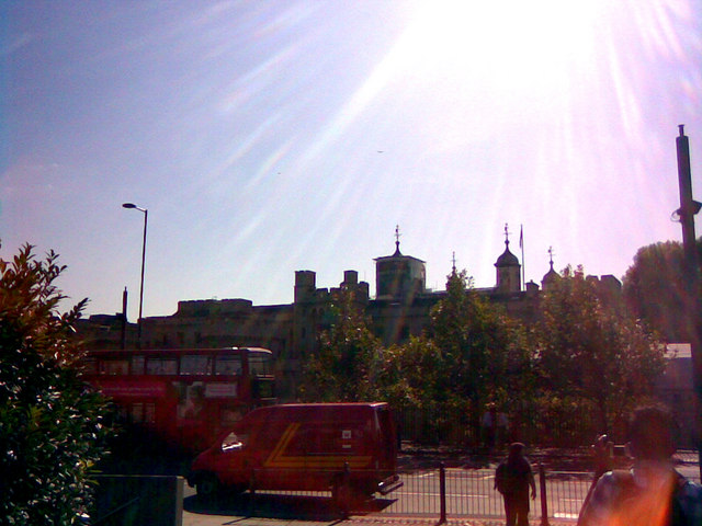 View of Tower of London from the pedestrianised walkway from Cooper's Row