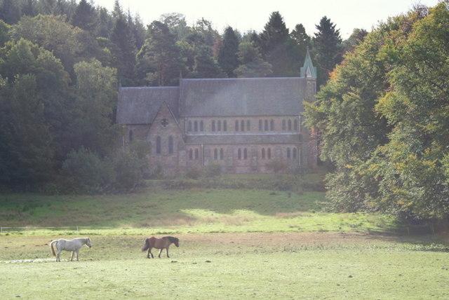 Ponies by St Margaret's Church, Aberlour