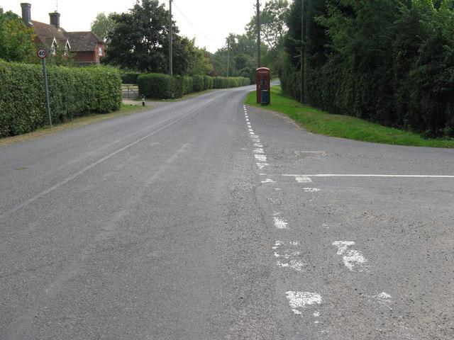 Road junction at Wineham