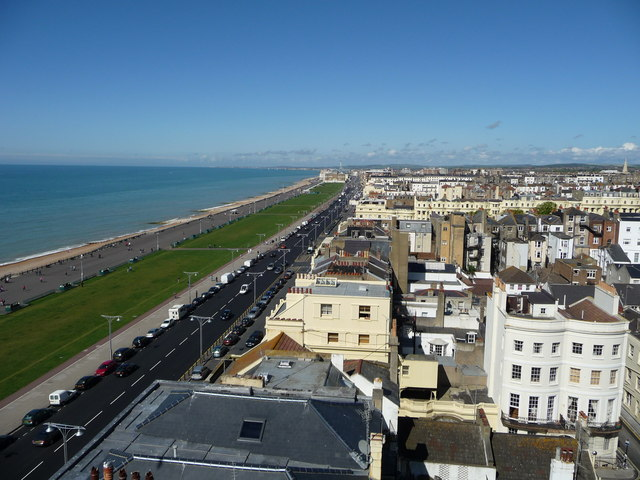Sea front view of Hove from top of building in Brighton